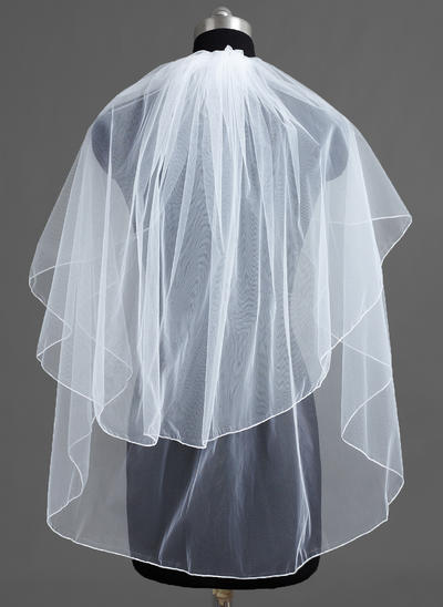 Fingertip Bridal Veils Tulle Two-tier Classic With Pencil Edge Wedding Veils (006151746)