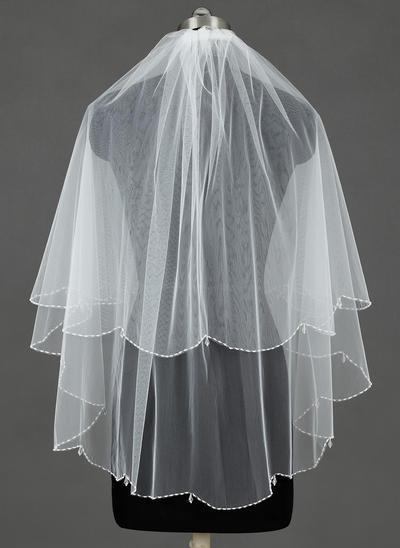 Fingerspitze Braut Schleier Tüll Zweischichtig Kaskade mit Perlenbesetzter Saum Brautschleier (006151347)