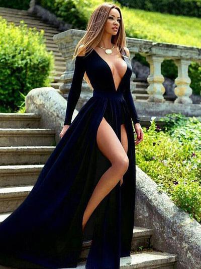 Satin Long Sleeves A-Line/Princess Prom Dresses V-neck Split Front Sweep Train (018218090)