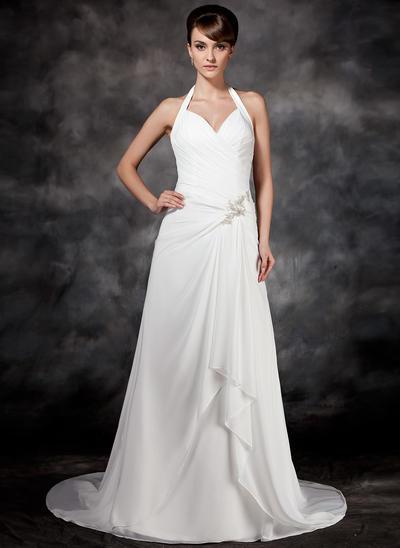 Beautiful Court Train A-Line/Princess Wedding Dresses Halter Chiffon Sleeveless (002001693)
