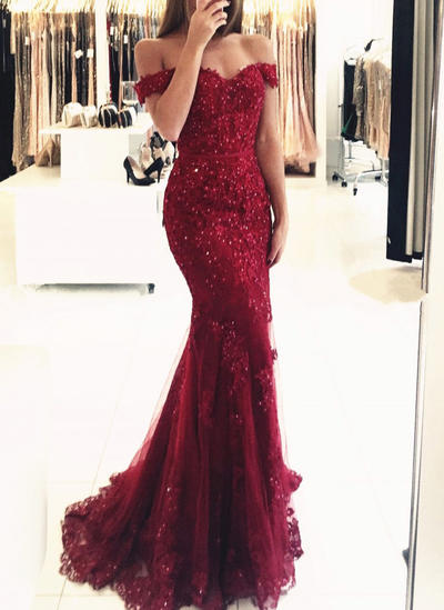 Trumpet/Mermaid Off-the-Shoulder Tulle Lace Sleeveless Sweep Train Beading Sequins Evening Dresses (017146219)