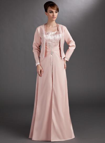 A-Linie/Princess-Linie Schatz Charmeuse Ärmellos Bodenlang Perlstickerei Kleider für die Brautmutter (008006265)