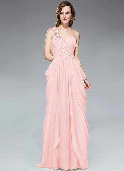 Chiffon Sleeveless Sheath/Column Prom Dresses One-Shoulder Ruffle Beading Appliques Lace Sequins Sweep Train (018047256)