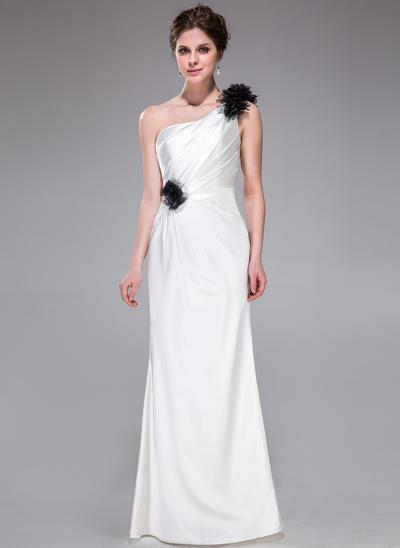 Charmeuse Sleeveless Sheath/Column Bridesmaid Dresses One-Shoulder Ruffle Flower(s) Floor-Length (007026194)