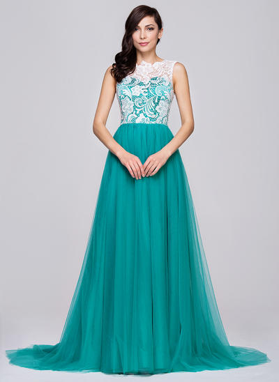 Tulle Lace Sleeveless A-Line/Princess Prom Dresses Scoop Neck Court Train (018064194)