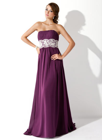 Chiffon Sleeveless Empire Prom Dresses Strapless Ruffle Lace Beading Sweep Train (018005060)