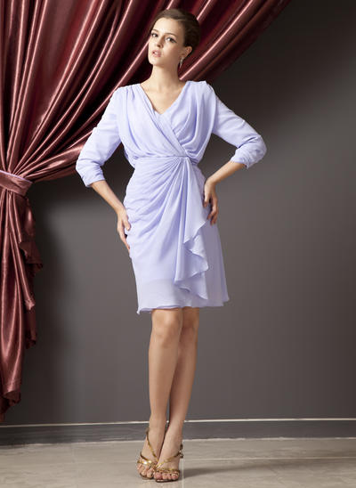 Sheath/Column V-neck Chiffon 3/4 Sleeves Knee-Length Cascading Ruffles Mother of the Bride Dresses (008210420)