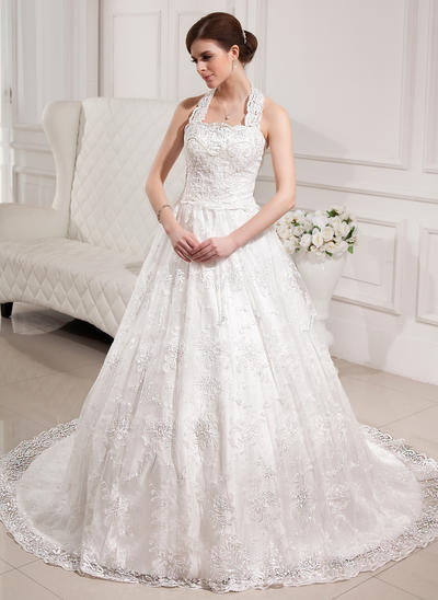 Princess Chapel Train Ball-Gown Wedding Dresses Halter Lace Sleeveless (002196869)