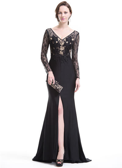 Trumpet/Mermaid V-neck Lace Jersey Long Sleeves Sweep Train Split Front Evening Dresses (017074967)