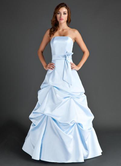 Satin Sleeveless A-Line/Princess Bridesmaid Dresses Strapless Ruffle Floor-Length (007004007)