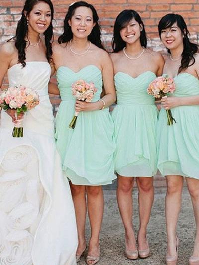 Chiffon Sleeveless Sheath/Column Bridesmaid Dresses Sweetheart Cascading Ruffles Knee-Length (007145015)