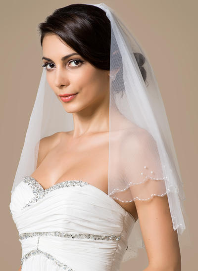 Elbow Bridal Veils Tulle Two-tier Classic With Scalloped Edge Wedding Veils (006151784)