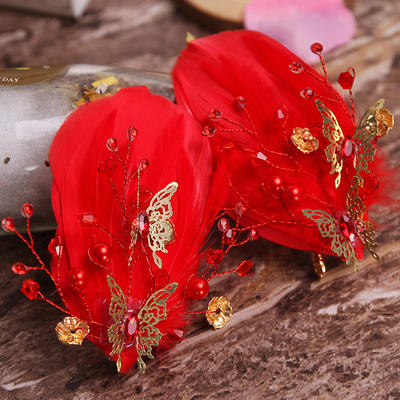 Combs & Barrettes Wedding/Special Occasion/Party Alloy/Imitation Pearls/Feather Stylish Ladies Headpieces (042157860)