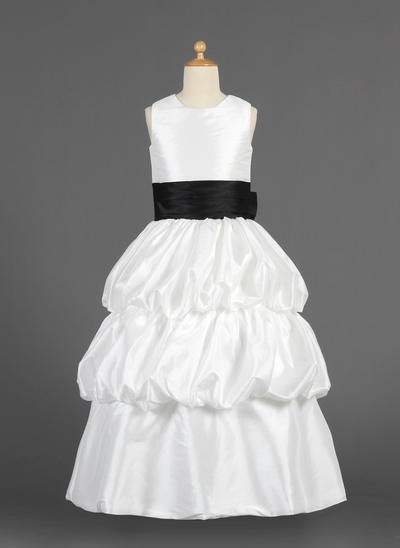 Princess Floor-length A-Line/Princess Flower Girl Dresses Scoop Neck Taffeta Sleeveless (010014629)