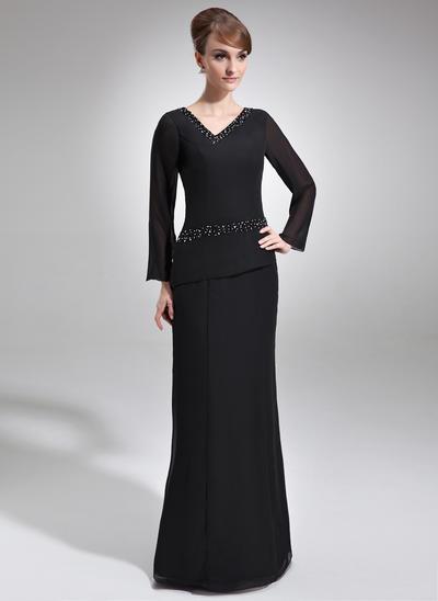 Sheath/Column V-neck Chiffon Long Sleeves Floor-Length Beading Mother of the Bride Dresses (008005953)