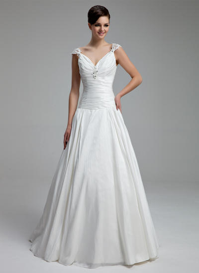 Luxurious Floor-Length A-Line/Princess Wedding Dresses Sweetheart Taffeta Sleeveless (002211330)