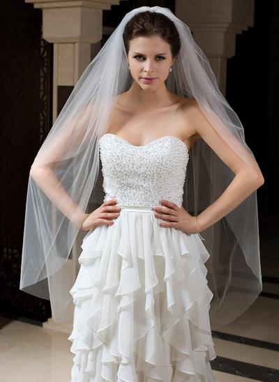 Waltz Bridal Veils Tulle Two-tier Classic With Cut Edge Wedding Veils (006151415)