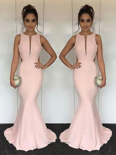 Sleeveless Trumpet/Mermaid Prom Dresses Scoop Neck Ruffle Sweep Train (018210989)