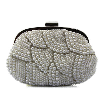 Clutches/Fashion Handbags Wedding/Casual & Shopping Crystal/ Rhinestone/Imitation Pearl Clip Closure Fashional Clutches & Evening Bags (012186776)