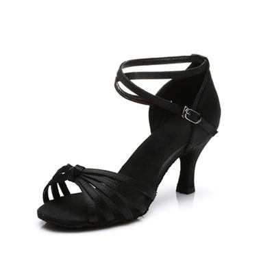 Frauen Latin Heels Sandalen Satin mit Knöchelriemen Tanzschuhe (053179195)