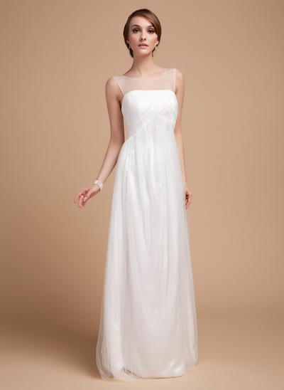 Elegant Floor-Length Empire Wedding Dresses Scoop Tulle Sleeveless (002210421)