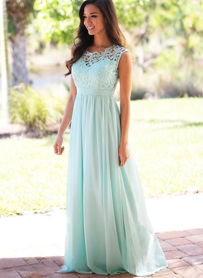 Chiffon Lace Sleeveless A-Line/Princess Bridesmaid Dresses Scoop Neck Floor-Length (007145060)