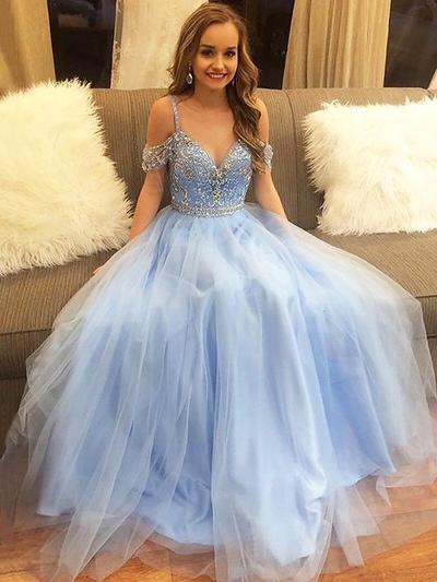 Sleeveless A-Line/Princess Prom Dresses Off-the-Shoulder Beading Floor-Length (018210927)