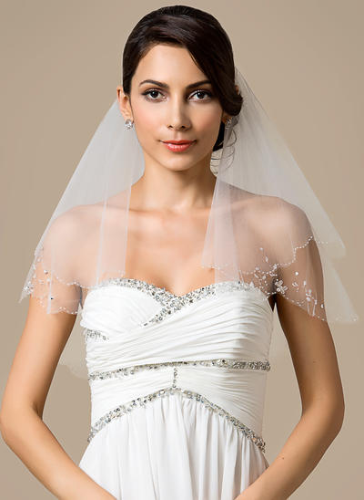 Shoulder Veils Tulle Two-tier Classic With Beaded Edge Wedding Veils (006151795)