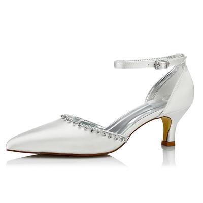 Frauen Absatzschuhe Färbbare Schuhe Niederiger Absatz Satin mit Strass Brautschuhe (047206057)