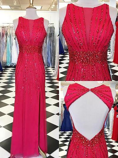 Chiffon Sleeveless Sheath/Column Prom Dresses Scoop Neck Beading Floor-Length (018148479)