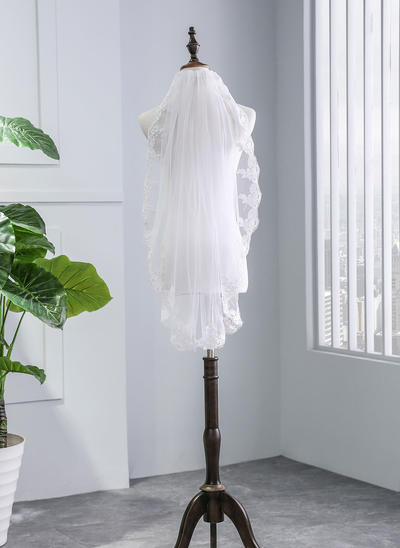 Elbow Bridal Veils Tulle One-tier With Lace Applique Edge With Lace Wedding Veils (006152512)