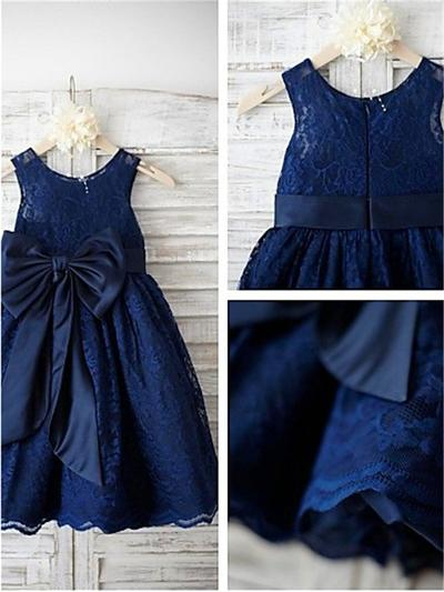 Magnificent Ankle-length A-Line/Princess Flower Girl Dresses Scoop Neck Lace Sleeveless (010211857)