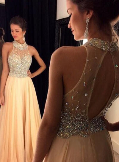 A-Line/Princess Scoop Neck Chiffon Sleeveless Floor-Length Beading Sequins Evening Dresses (017146992)