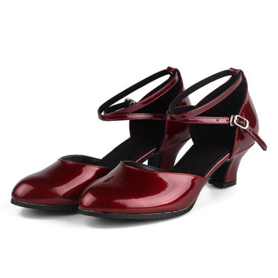 Women's Ballroom Pumps Patent Leather With Ankle Strap Dance Shoes (053182286)