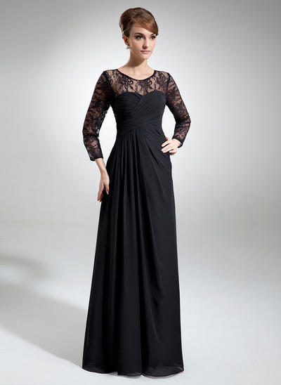 A-Line/Princess Scoop Neck Chiffon Lace Long Sleeves Floor-Length Ruffle Mother of the Bride Dresses (008006103)