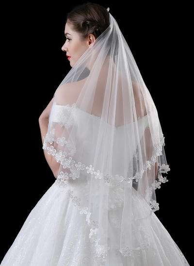 Waltz Bridal Veils Tulle/Lace One-tier Classic With Lace Applique Edge Wedding Veils (006152293)