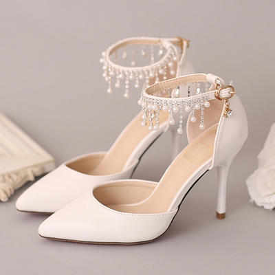 Women's Closed Toe Pumps Stiletto Heel Leatherette With Imitation Pearl Rhinestone Wedding Shoes (047208361)