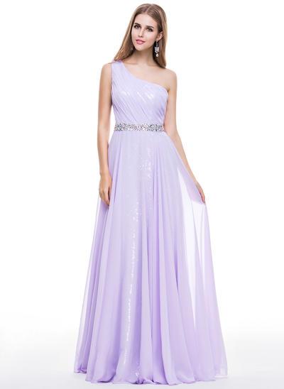 Chiffon Sequined Sleeveless A-Line/Princess Prom Dresses One-Shoulder Ruffle Beading Floor-Length (018056798)