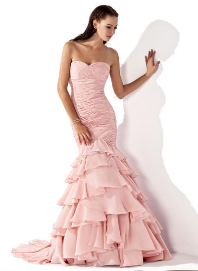 Trumpet/Mermaid Sweetheart Chiffon Sleeveless Sweep Train Cascading Ruffles Evening Dresses (017013103)