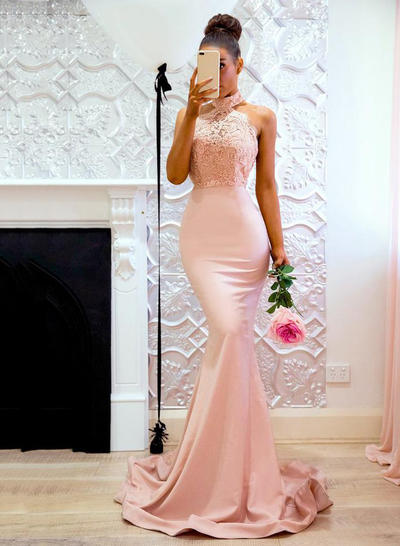 Jersey Sleeveless Trumpet/Mermaid Prom Dresses Halter Lace Sweep Train (018218659)