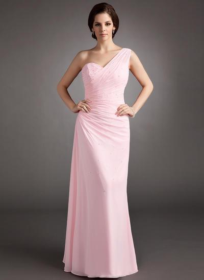 Chiffon Sleeveless A-Line/Princess Prom Dresses One-Shoulder Ruffle Beading Sequins Floor-Length (018004997)