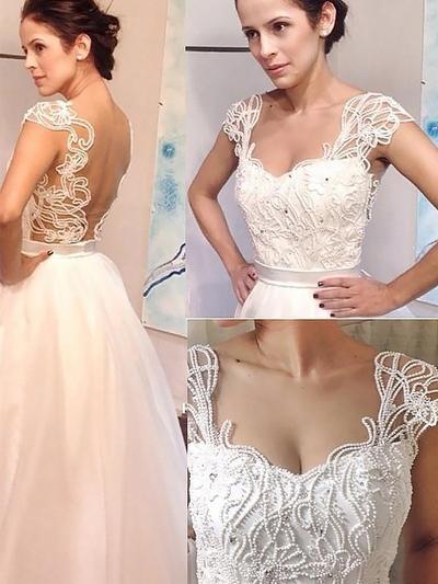 Stunning Sweep Train A-Line/Princess Wedding Dresses Sweetheart Tulle Sleeveless (002148021)