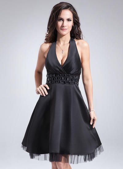 A-Line/Princess Halter Satin Sleeveless Knee-Length Ruffle Beading Cocktail Dresses (016008223)