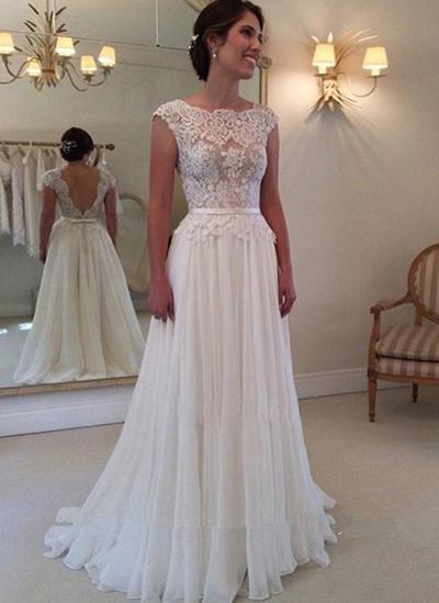 Simple Sweep Train A-Line/Princess Wedding Dresses Square Chiffon Sleeveless (002145472)