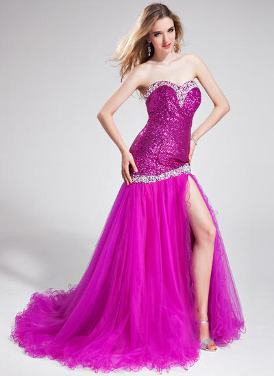 Tulle Sequined Sleeveless Trumpet/Mermaid Prom Dresses Sweetheart Beading Split Front Court Train (018025304)