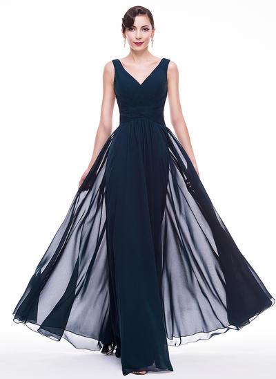 Chiffon Sleeveless A-Line/Princess Prom Dresses V-neck Ruffle Floor-Length (018070251)