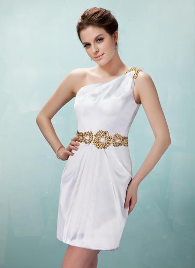 Sheath/Column One-Shoulder Charmeuse Sleeveless Short/Mini Ruffle Beading Sequins Cocktail Dresses (016021246)