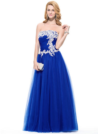 Tulle Sleeveless A-Line/Princess Prom Dresses Strapless Ruffle Beading Appliques Lace Sequins Floor-Length (018075871)