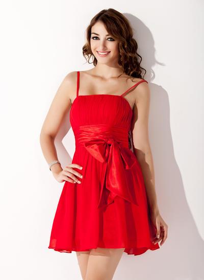 A-Line/Princess Chiffon Sleeveless Short/Mini Ruffle Bow(s) Homecoming Dresses (022020835)