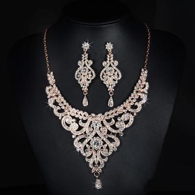 Jewelry Sets Alloy/Rhinestones Lobster Clasp Pierced Ladies' Wedding & Party Jewelry (011167355)